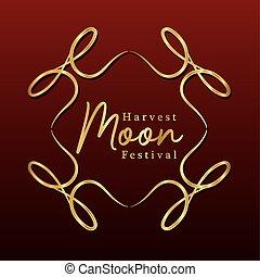 harvest moon festival inside ornament gold frame vector design