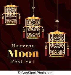 harvest moon festival with gold lanterns vector design