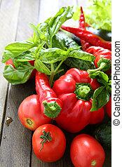 harvest of fresh vegetables on the boards