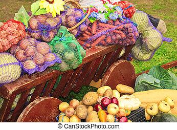 Harvest of vegetables in a cart