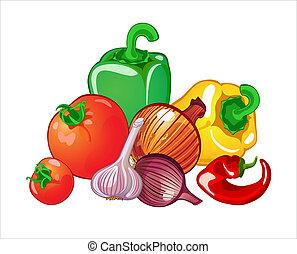 vegetables - Harvest of vegetables, tomatoes, paprika, ...