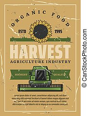 Harvest retro poster, sunflower and combine - Agriculture...