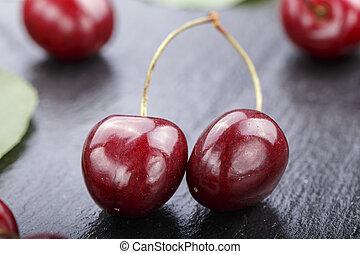 harvest ripe cherries