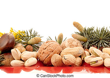 Harvest season, nuts - Colorful display of harvest nuts on...