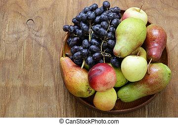 harvest still life, fruit on a wooden table