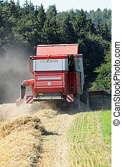harvester machine working