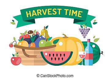 Harvest time illustration. Harvest fruits and vegetables. ...