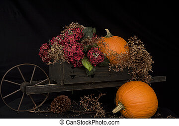Harvest Time - Wooden cart with pumpkins and dried flowers ...