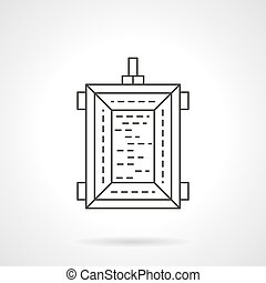 Harvest trailer flat thin line vector icon
