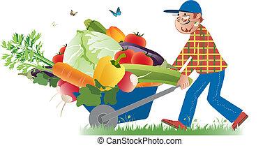 Vector cartoon of a happy farmer conveying a full wheelbarrow of vegetables