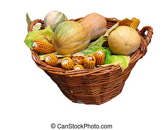 Harvest vegetables in a wooden box isolater over white