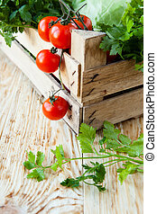 Harvest vegetables in a wooden crate