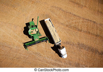 Harvester and Semi-Truck - Harvester on a field emptying...