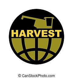 harvester, fazenda, earth., emblem., combinar, logo., colheita, sinal, agricultura