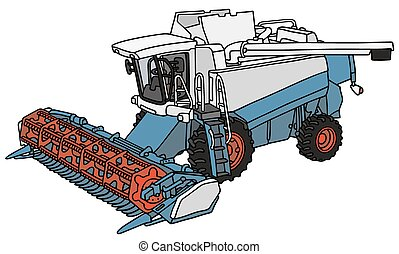 Hand drawing of a blue and white harvester - not a real type