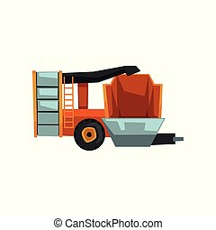 Harvester machine, agricultural machinery vector Illustration on a white background