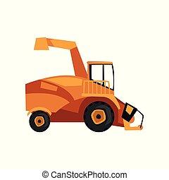 Harvester machine, combine, farm machinery vector Illustration