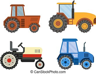 Harvester machine vector technic - Set of different types of...