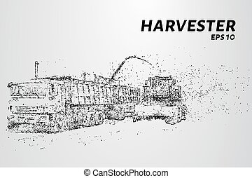 Harvester of particles. Agricultural harvester breaks down into small molecules. Vector illustration