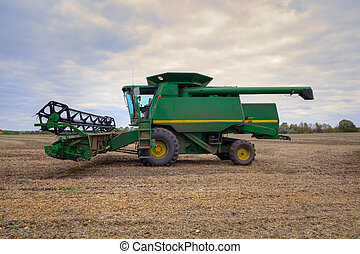 Harvester on the field