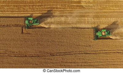 Harvesters in the field.