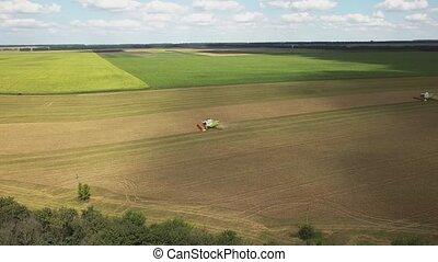 harvesters., rolniczy, truteń, antena, pole, video