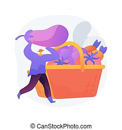 Harvesting abstract concept vector illustration. Collecting ...