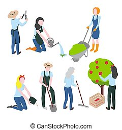 Harvesting and Farming. Gardening and agriculture. Flat gardener character. Work and Hobby.