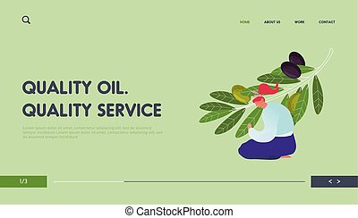Harvesting and Natural Oil Production Website Landing Page. Woman Sitting on Ground Care of Olive Branch with Green and Black Berries and Leaves Web Page Banner. Cartoon Flat Vector Illustration