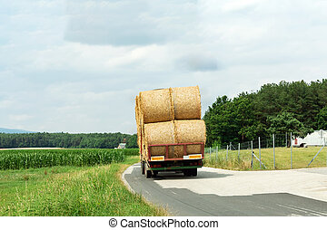 Harvesting and transportation of crops in the agricultural...
