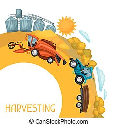 Harvesting background. Combine harvester, tractor and granary on wheat field. Agricultural illustration farm rural landscape