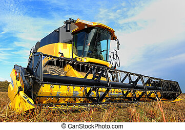 harvesting combine in the field - yellow combine in the...