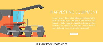 Harvesting Equipment Web Banner with Text Vector -...