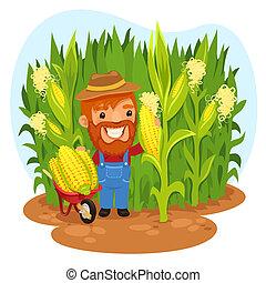 Harvesting Farmer In a Cornfield. In the EPS file, each...