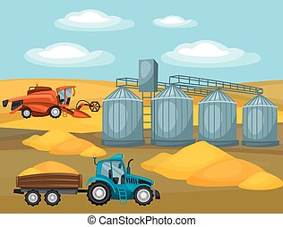 Harvesting grain. Combine harvester, tractor and granary