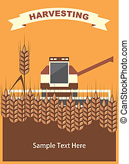 image harvester of cleaning wheat in the card with space for text, vector