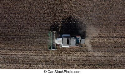 Near Edinet, Moldova, August 2020: Aerial view of sunflower seeds harvesting using agriculture machinery at late summer in Moldova, Eastern Europe