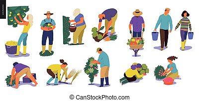 Harvesting people set - Harvesting people - set of vector...