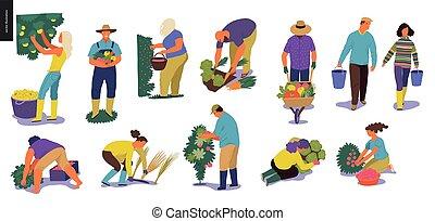 Harvesting people set - Harvesting people - set of vector...