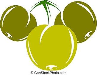 Harvesting symbol, vector fruits isolated. Ripe organic...