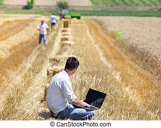Harvesting - Young landowner with laptop supervising ...
