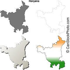 Haryana blank detailed outline map set
