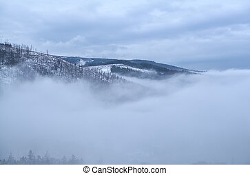 Harz mountains in dense winter fog
