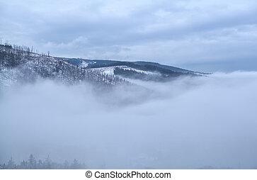 Harz mountains in dense winter fog