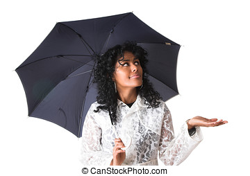 Has it stopped raining? - Pretty brazilian girl holding out...