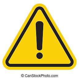hasard, uppmärksamhet, underteckna, varning