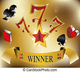 hasardspel, 777, vinnare, sju, lycklig
