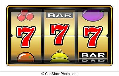 hasardspel, illustration, 777