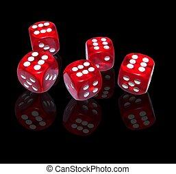 hasardspel, med, röd, tärningar