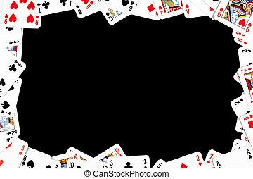 hasardspel, ram, gjord, från, eldgaffel, kort